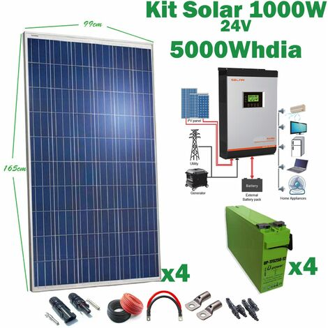 Kit Solar 24v 1000w Inversor Híbrido 3Kw MPPT 80A VHM, AGM 250AH