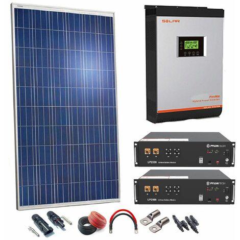 Kit Solar 24v 660w Inversor Híbrido con batería de Litio con 3Kw 24V VHM MPPT 80A