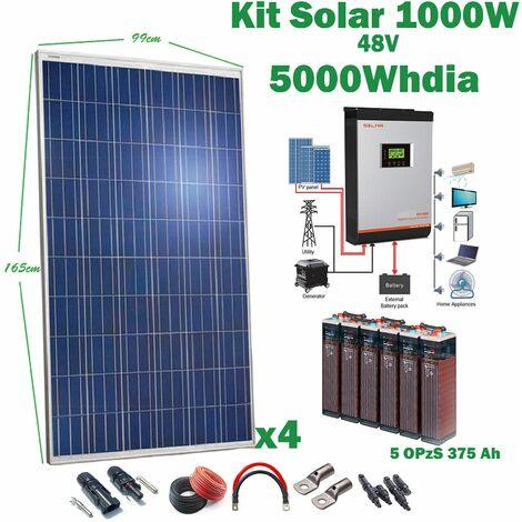 Kit Solar 48v 1000w Inversor Híbrido, 5Kw Mppt 80A, 5Opzs 375Ah