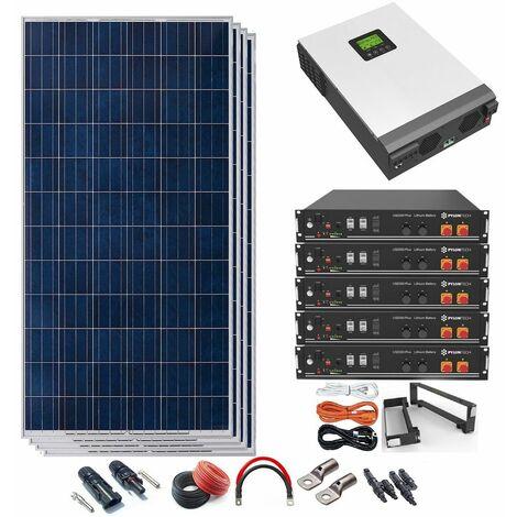Kit Solar 48v 1320w Inversor Híbrido con batería de Litio 5Kw MPPT 80A