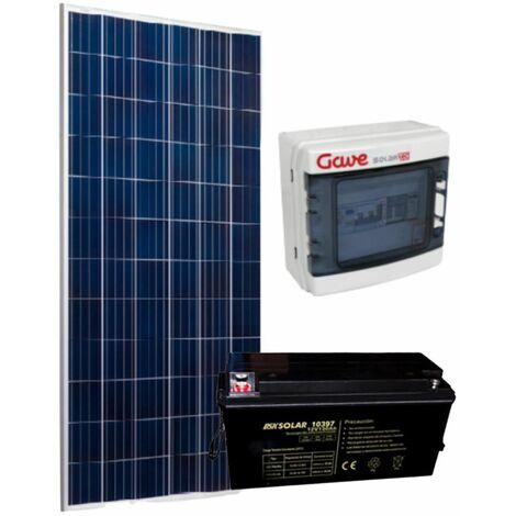 Kit solar Aislada, Panel 280W, inversor 1000W, batería Gel, hasta 1400 Wh/día