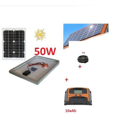 Kit Solare 50W 12V Pannello Fotovoltaico Poly Regolatore PWM 10A barca camper