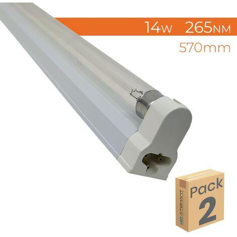 "main image of ""Kit Soporte y Tubo T5 LED Ultravioleta (UVC Germicida) 265nm 14W 570mm. | Pack 2 Uds. - Pack 2 Uds."""