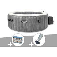 Kit spa gonflable Intex PureSpa Baltik rond Bulles 4 places + 6 filtres + Aspirateur