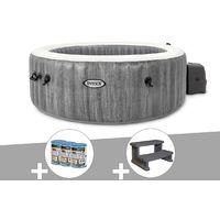 Kit spa gonflable Intex PureSpa Baltik rond Bulles 4 places + 6 filtres + Escalier