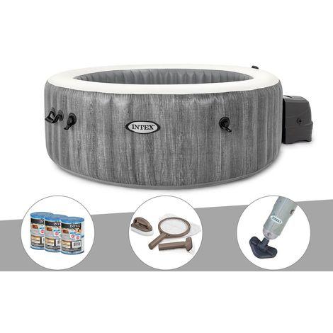 Kit spa gonflable Intex PureSpa Baltik rond Bulles 4 places + 6 filtres + Kit d'entretien + Aspirateur