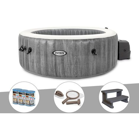 Kit spa gonflable Intex PureSpa Baltik rond Bulles 4 places + 6 filtres + Kit d'entretien + Escalier