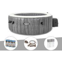 Kit spa gonflable Intex PureSpa Baltik rond Bulles 4 places + 6 filtres + Kit d'entretien + Kit traitement brome