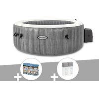Kit spa gonflable Intex PureSpa Baltik rond Bulles 4 places + 6 filtres + Kit traitement brome