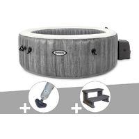 Kit spa gonflable Intex PureSpa Baltik rond Bulles 4 places + Aspirateur + Escalier