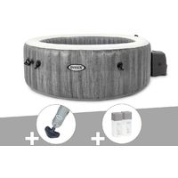 Kit spa gonflable Intex PureSpa Baltik rond Bulles 4 places + Aspirateur + Kit traitement brome