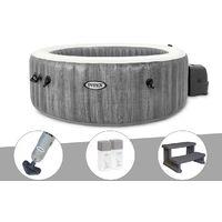 Kit spa gonflable Intex PureSpa Baltik rond Bulles 4 places + Aspirateur + Kit traitement brome + Escalier
