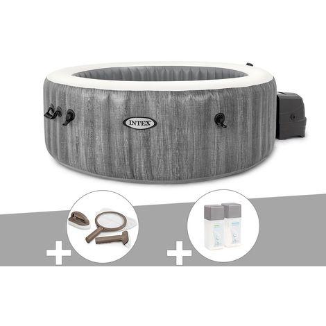 Kit spa gonflable Intex PureSpa Baltik rond Bulles 4 places + Kit d'entretien + Kit traitement brome
