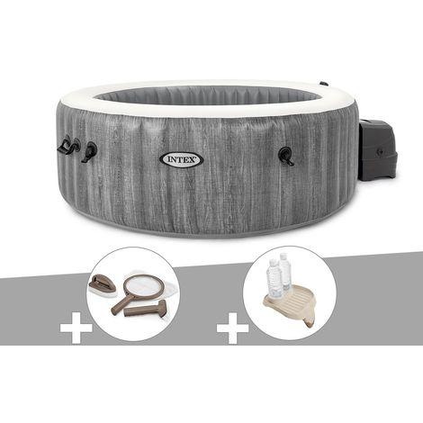 Kit spa gonflable Intex PureSpa Baltik rond Bulles 4 places + Kit d'entretien + Porte-verre