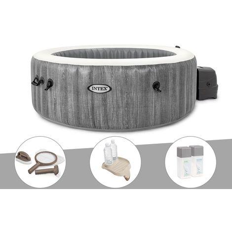 Kit spa gonflable Intex PureSpa Baltik rond Bulles 4 places + Kit d'entretien + Porte-verre + Kit traitement brome
