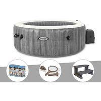 Kit spa gonflable Intex PureSpa Baltik rond Bulles 6 places + 6 filtres + Kit d'entretien + Escalier