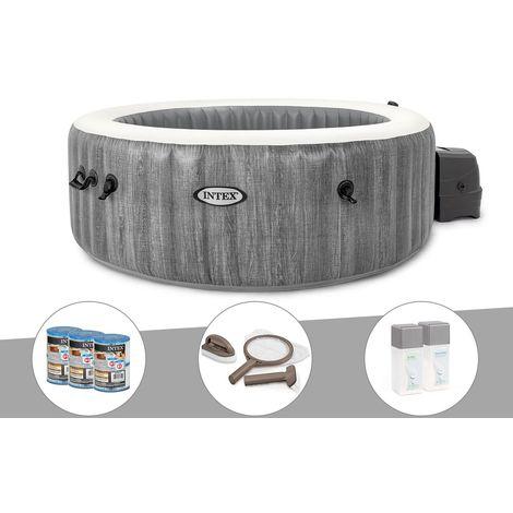 Kit spa gonflable Intex PureSpa Baltik rond Bulles 6 places + 6 filtres + Kit d'entretien + Kit traitement brome
