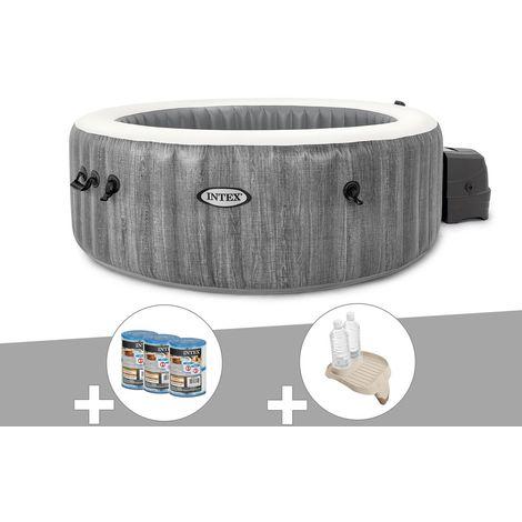 Kit spa gonflable Intex PureSpa Baltik rond Bulles 6 places + 6 filtres + Porte-verre
