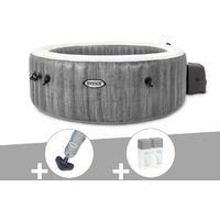 Kit spa gonflable Intex PureSpa Baltik rond Bulles 6 places + Aspirateur + Kit traitement brome