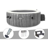 Kit spa gonflable Intex PureSpa Baltik rond Bulles 6 places + Aspirateur + Kit traitement brome + Escalier