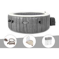 Kit spa gonflable Intex PureSpa Baltik rond Bulles 6 places + Kit d'entretien + Porte-verre + Kit traitement brome