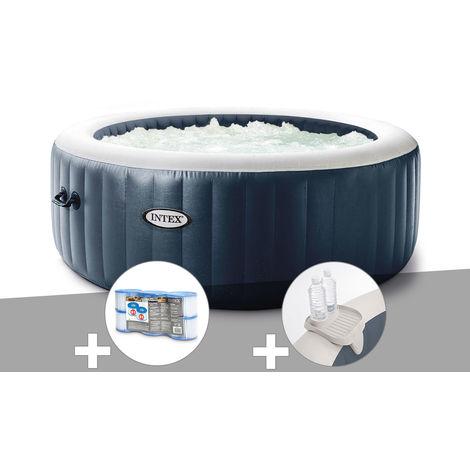 Kit spa gonflable Intex PureSpa Blue Navy rond Bulles 4 places + 6 filtres + Porte-verre