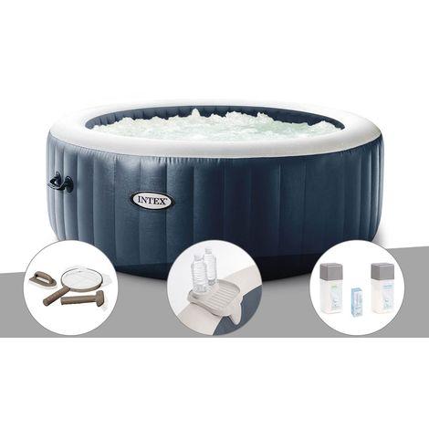 Kit spa gonflable Intex PureSpa Blue Navy rond Bulles 4 places + Kit d'entretien + Porte-verre + Kit traitement brome