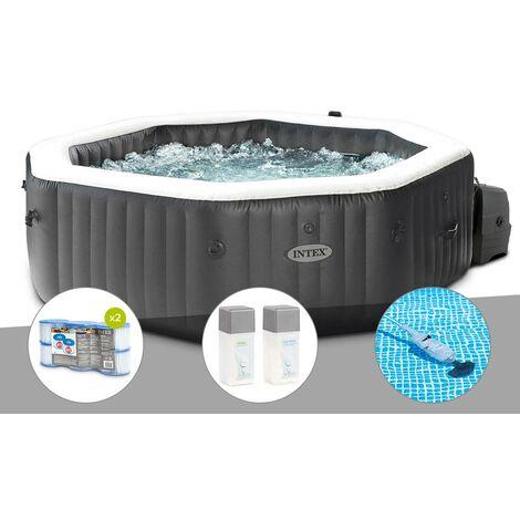 Kit spa gonflable Intex PureSpa Carbone octogonal Bulles et Jets 4 places + 12 filtres + Kit traitement brome + Aspirateur