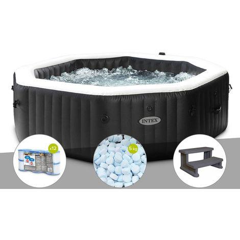 Kit spa gonflable Intex PureSpa Carbone octogonal Bulles et Jets 6 places + 12 filtres + 5 kg de sel + Escalier