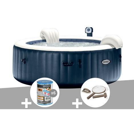 Kit spa gonflable Intex PureSpa rond Bulles 4 places Bleu nuit + Led + 6 filtres + Kit d'entretien