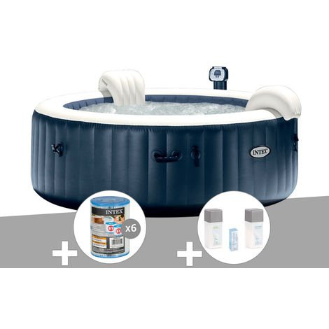 Kit spa gonflable Intex PureSpa rond Bulles 4 places Bleu nuit + Led + 6 filtres + Kit traitement brome