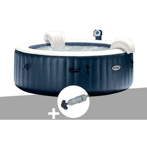Kit spa gonflable Intex PureSpa rond Bulles 4 places Bleu nuit + Led + Aspirateur