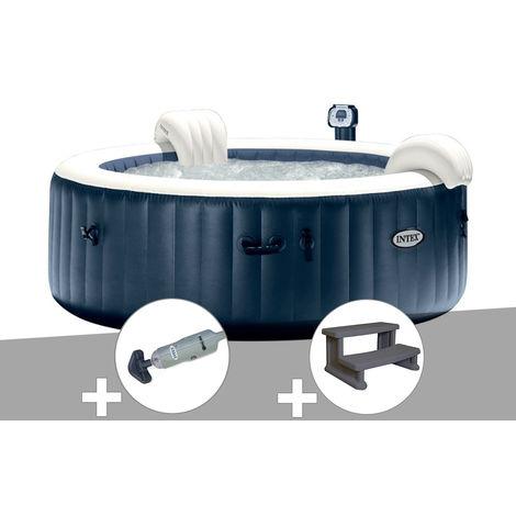 Kit spa gonflable Intex PureSpa rond Bulles 4 places Bleu nuit + Led + Aspirateur + Escalier