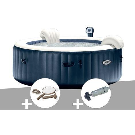 Kit spa gonflable Intex PureSpa rond Bulles 4 places Bleu nuit + Led + Kit d'entretien + Aspirateur
