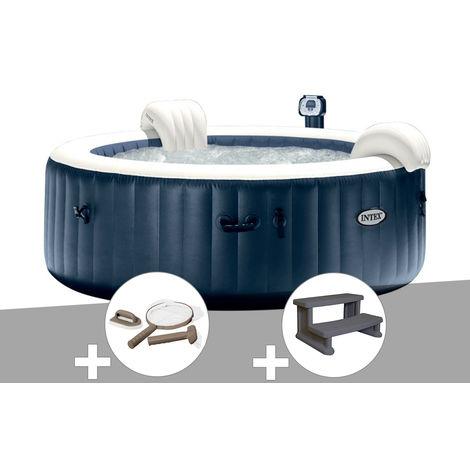Kit spa gonflable Intex PureSpa rond Bulles 4 places Bleu nuit + Led + Kit d'entretien + Escalier
