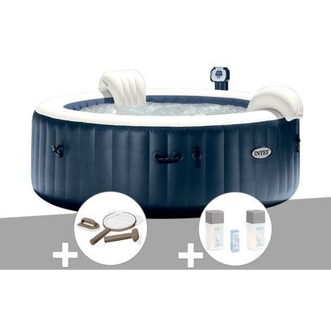 Kit spa gonflable Intex PureSpa rond Bulles 4 places Bleu nuit + Led + Kit d'entretien + Kit traitement brome