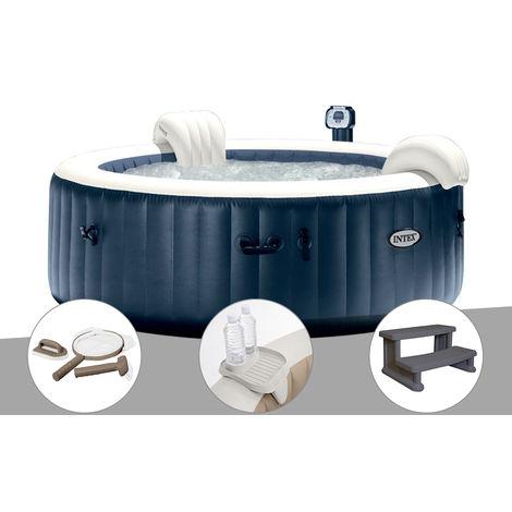 Kit spa gonflable Intex PureSpa rond Bulles 4 places Bleu nuit + Led + Kit d'entretien + Porte-verre + Escalier