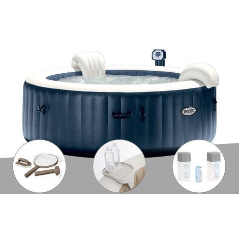 Kit spa gonflable Intex PureSpa rond Bulles 4 places Bleu nuit + Led + Kit d'entretien + Porte-verre + Kit traitement brome
