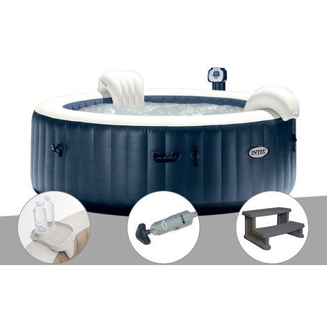 Kit spa gonflable Intex PureSpa rond Bulles 4 places Bleu nuit + Led + Porte-verre + Aspirateur + Escalier