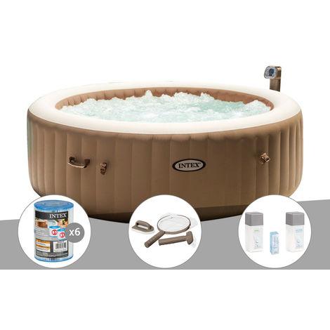Kit spa gonflable Intex PureSpa rond Bulles 6 places + 6 filtres + Kit d'entretien + Kit traitement brome