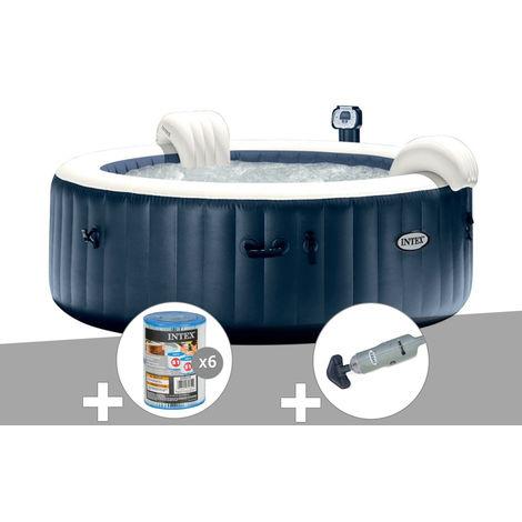 Kit spa gonflable Intex PureSpa rond Bulles 6 places Bleu nuit + Led + 6 filtres + Aspirateur