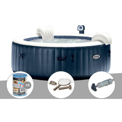 Kit spa gonflable Intex PureSpa rond Bulles 6 places Bleu nuit + Led + 6 filtres + Kit d'entretien + Aspirateur