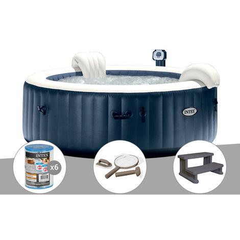 Kit spa gonflable Intex PureSpa rond Bulles 6 places Bleu nuit + Led + 6 filtres + Kit d'entretien + Escalier