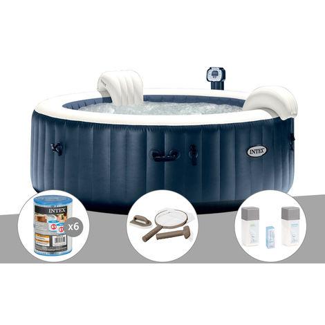 Kit spa gonflable Intex PureSpa rond Bulles 6 places Bleu nuit + Led + 6 filtres + Kit d'entretien + Kit traitement brome
