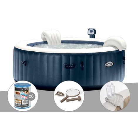 Kit spa gonflable Intex PureSpa rond Bulles 6 places Bleu nuit + Led + 6 filtres + Kit d'entretien + Porte-verre