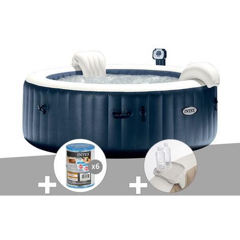 Kit spa gonflable Intex PureSpa rond Bulles 6 places Bleu nuit + Led + 6 filtres + Porte-verre