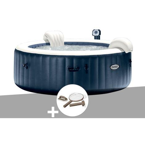 Kit spa gonflable Intex PureSpa rond Bulles 6 places Bleu nuit + Led + Kit d'entretien