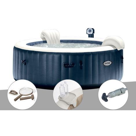 Kit spa gonflable Intex PureSpa rond Bulles 6 places Bleu nuit + Led + Kit d'entretien + Porte-verre + Aspirateur