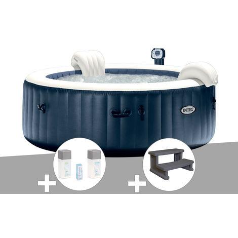 Kit spa gonflable Intex PureSpa rond Bulles 6 places Bleu nuit + Led + Kit traitement brome + Escalier