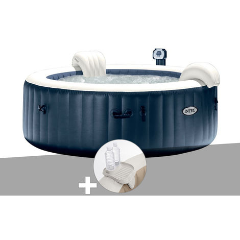 Kit spa gonflable Intex PureSpa rond Bulles 6 places Bleu nuit + Led + Porte-verre